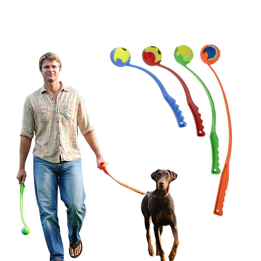 Amazon Hot Dog Toy Launchers Tennis Ball Toy Long Plastic Handle Throw Dog Playing Ball 2.5 inch(China (Mainland))