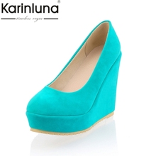 KARINLUNA Women's High Heel Comfortable Wedge Shoes Woman Party Wedding Office Round Toe Platform Pumps Big Size 34-43(China)