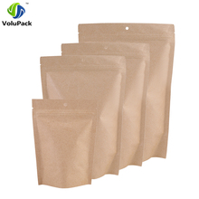 100pcs 10x15cm/ 12x20cm Mylar Foil Brown Kraft Paper Food Tea Storage Bag Zip Lock Stand Up Package Bags With Hang Holes