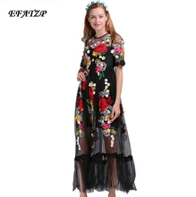 Black Sexy Dress Embroidery Flowers Mesh XXL Summer Early Spring Short Sleeve Translucent 2017 Fashion Daily Women Long Dress