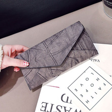 Vintage Thread Wallet Female Students Simple Retro Three Fold Wallet Bit Coin Purses Large Capacity Multi-function Wallets QB024(China)