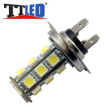 TRICOLOUR 4X H7 18 SMD 5050 Car LED Lamp Xenon Pure White Blue Red Driving Head Day Fog light Bulb 12V Free shipping #TJ10-1