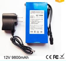 Portable super 9800mah DC12V li-polymer ups battery with AC Charger for LED Board,CCTV Camera
