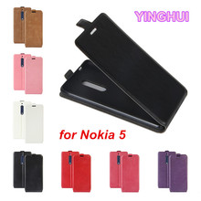 YINGHUI for Nokia 5 Case Fundas Coque Vertical Flip Cover PU Leather Case for Nokia 5 Cover Phone Bag with Photo Frame Card Slot