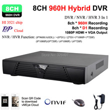 Home 8channel 960H Full D1 Real time HDMI 1080P 8ch Hybrid dvr NVR Onvif for security ip camera P2P function CCTV DVR Recorder(China)