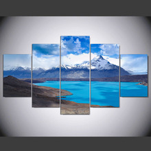 5 Panels Beauty of Mountains and Rivers Printed Canvas Painting Blue Landscape Wall Art Pictures Living Room Decorative Poster