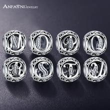 ANFASNI New Arrival 925 Sterling Silver Vintage Clear CZ Alphabet Bead Charms Fit Original Pandora Women Charm Bracelet Jewelry