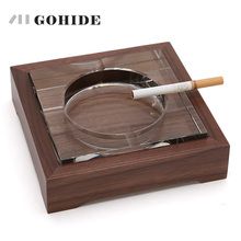 JUH A Fashion Bamboo Wooden Base With Crystal Ashtray Large Glass Ashtray Wooden Bar Office Home Decoration Living Room ZLCP(China)