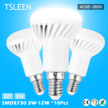 TSLEEN+Cheap+ Practical 10Pcs/Lot R39 R50 R63 R80 LED Lamp E27 E14 Bulb 3W-12W Spotlight Lamp Bulbs Home Aisle Lights