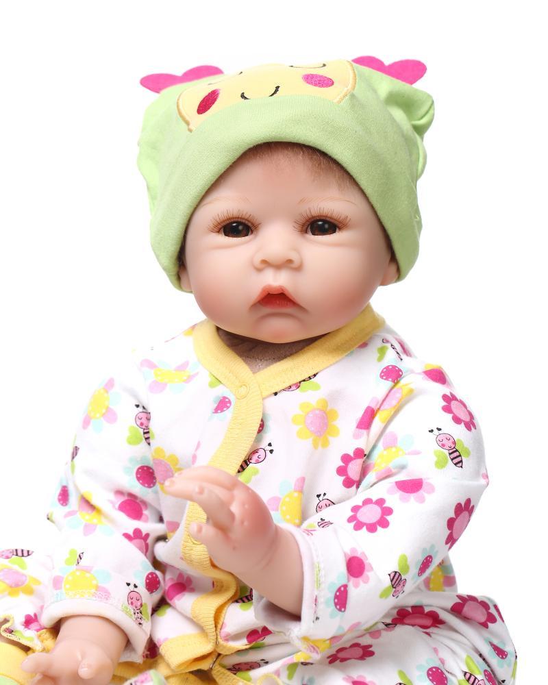 22 Inch 55cm Silicone baby reborn dolls lifelike newborn girl babies toy for child blue princess doll birthday gift brinquedos<br><br>Aliexpress