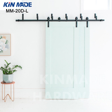 KIN MADE MM20D-L Bypass double panel sliding barn wood closet door rustic black hardware(China)