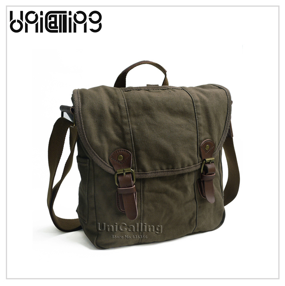 Brand Canvas Messenger Bags,100% cotton high quality guarantee vintage canvas tote messenger bag military casual cross body bag<br>