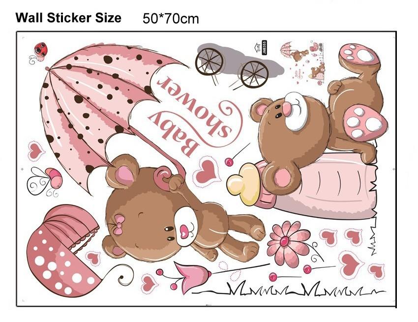 HTB12 Apm8TH8KJjy0Fiq6ARsXXaz - Pink Cartoon Cat Rabbit Flower Wall Sticker For Baby Girls Kids Rooms