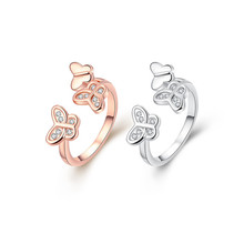 Fashion rose gold color butterfly ring opening with cubic zirconia jewelry sweet design for girls top quality cheap wholesale(China)