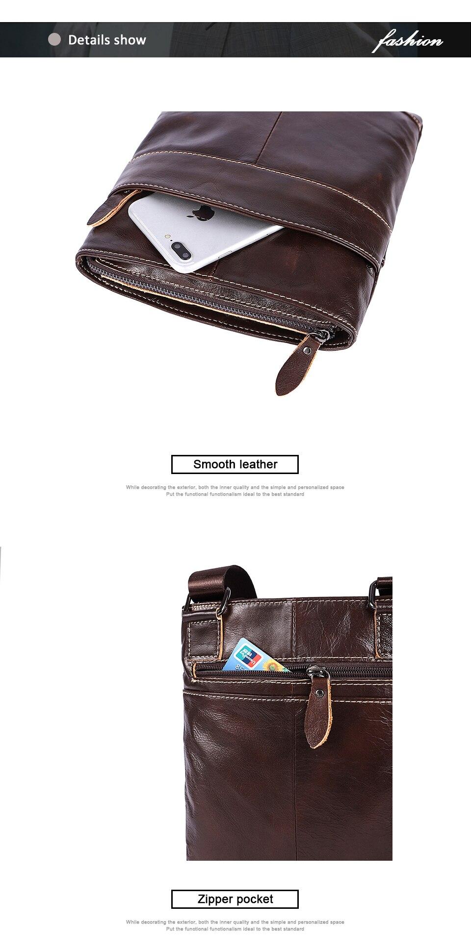 Genuine Leather Men Bag Men Messenger Bags Fashion ipad Flap Crossbody Bags Small Casual Men's Leather Shoulder Bag Man (7)