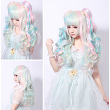 68 Cm Long Curly Cosplay Lolita Wig Women Clip-In Ponytails Pink Blue Mixed Beige Synthetic Hair Wigs Costume Peruca Pelucas