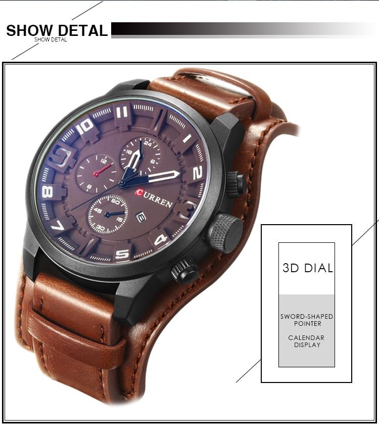Relogio Masculino Mens Watches Top Brand Luxury Leather Strap Waterproof Sport Men Quartz Watch Military Male Clock Curren 8225 23