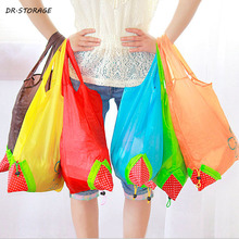 1Pcs New Thicken Storage Handbag Foldable Strawberry Shopping Bag Tote Reusable Supermarket Storage Bags Colorful