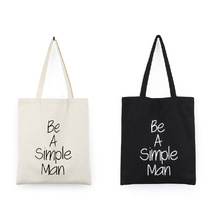 White/Black 2 Colors Canvas Shopping Bag Foldable Reusable Grocery Tote bag Cotton Fabric beach bag 37*40cm letter pattern pouch(China)