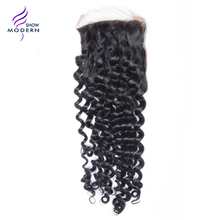 Modern Show Curly Hair Remy Hair Free Part Lace Closure Swiss Lave 100% Human Hair Natural Black 1B Free Shipping(China)