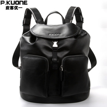 P.KUONE Brand Luxury Genuine Leather Backpack Men Black Soft Waterproof Back Pack Book Ipad School Bag Male Travel Rucksack(China)