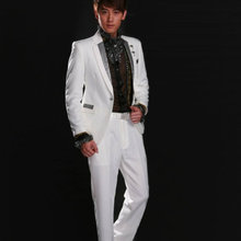 2015 male costume fashion  bird costume men's clothing white paillette suits clothes choral service for singer dancer star show