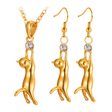 Kpop New fashion Lovely Gold Color Cute Kitty Cat Pendant Earrings Rhinestone Fashion Jewelry Sets Jewelry Girl S644(China)