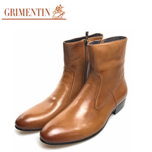GRIMENTIN cowboy boots men leather black brown pointed toe designer business wedding office male leather ankle boots men shoes(China)