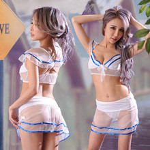 Buy Hot Sexy Erotic Lingerie Students Uniform Babydoll Transparent Women Porno Erotically Clothing Crop top Mini Skirt Negligee