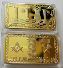 "1 oz MASONIC BAR - FREEMASONS ""FAITH HOPE CHARITY"" .999 24K GOLD BULLION BAR,5pcs/lot"