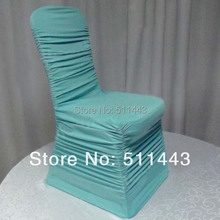 Free Shipping 100pcs Tiffany Blue Shirred Around Elastic Stretch Chair Covers Ruffled Spandex Lycra Chair Covers For Wedding