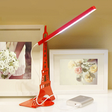 Creative Bedroom Table Lamp Eye Care Desk Simple Portable Desk Bookshelf Reading Light Paris Eiffel Tower Lamp
