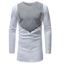 Art und weise Striped Print Shirt Männer 2017 Marke New African Dashiki  Kleid Shirt Herren Langarm-shirts Weiß Afrika Bekleidung. 7c3b5c7156