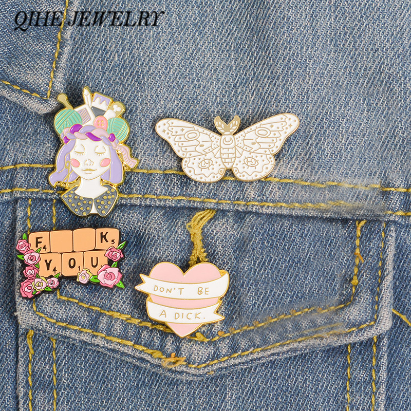 QIHE JEWELRY Floral pins Crafty Girl Power Inspirational Quote Banner Enamel pins Flower brooches Lapel pins for Craft Lover 1