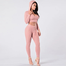 Tracksuit Women Sexy Ribbed Hoodies Set Casual Long Sleeve Track Suit Costumes Pullovers Crop Hooded Sweatshirt+Pants