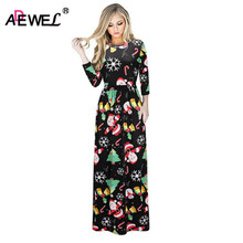ADEWEL 2017 Latest 3/4 Sleeve Christmas Maxi Dress Women Soft Ice Silk Boho Style Christmas Printed Long Party Dresses(China)