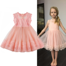 2dbe7cad758 Sweet Pink Princess Girl Lace Dress Baby Girls Party Dress Children Tulle  Costumes For Kids Flowers