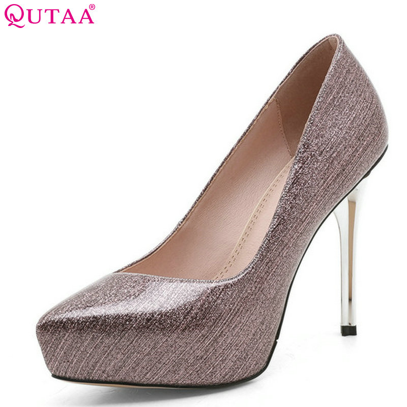 QUTAA 2018 Women Pumps Patent Leather Platform Women Wedding Leisure Thin High Heel Pointed Toe Shoes Women Shoes Size 34-39<br>