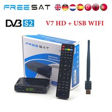 Freesat V7 HD DVB-S2 Satellite Decoder 1 Pcs USB Wifi Support 1 Year Europe Cccamd Server Android TV Satellite Receiver(China)