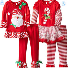 New 2015 Kids Children's boutique outfits sets autumn Christmas Clothing Santa for girls ruffle pants legging sets