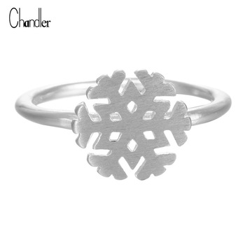 925 Sterling Silver Snowflake Ring Tiny Matte Charm Open Midi Pinkie Knuckle Toe Friendship bague Gift Women Infinity Jewelry