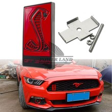 Car Styling 3D Metal Red Cobra GT350 Logo Front Hood Grille Badge Grille Emblem Auto Stickers Car Decal For Ford Mustang Shelby