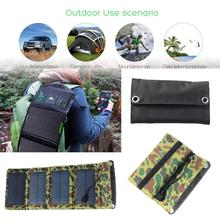 5V 7W Solar Panel Bank PVC Waterproof Folding Solar Power Panel External Charger Power Panel For Smart Phone Outdoor Travelling
