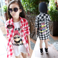 New Fashion Long  Girls Plaid Shirts Kids Good Quality  Kids Blouse Girl  Chemise Fille Girls Blouse 6BL010