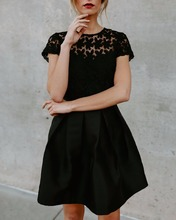 Foreign trade summer dress 2018 short sleeve black lace dress fit and flare seductive women dress YJ1423(China)