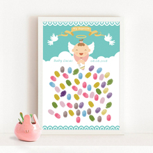 Angel And Pigeons,Free Custom Name Date Fingerprint Signature Gusetbook,DIY Baby Shower Baptism Kids Birthday Party Decor Gift(China)