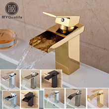 Free Shipping Basin Vanity Sink Faucet Single Handle Waterfall Bathroom Mixer Deck Mounted 4 Color For Choice(China)