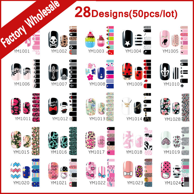 28Designs(50pcs) New Nail Art Stickers Decals Skull Flowers Nail Tips Decoration DIY Adhesive Nail Beauty Foils Patch<br>