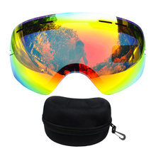 Benice brand ski lenses add case double layers UV400 anti-fog big ski mask skiing men women snow snowboard glasses+Box(China)