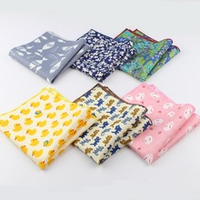 Men's Sunny Style Cotton Handkerchief Tartan Strip Duck Fish Rabbit Cat Pocket Square Hankies Towel Casual 23*23cm